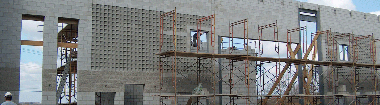 Concrete block wall under construction