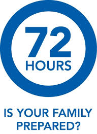 "Blue circle with the words ""72 Hours Is Your Family Prepared"""