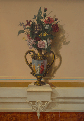 Vase with flowers and trompe l'oeil painting on it