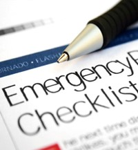 pen on paper saying emergency checklist