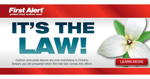 "banner stating ""It's The Law!"", carbon monoxide alarms are mandatory"