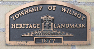 Township of Wilmot Heritage Landmark plaque dated 1877