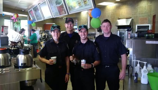 Firefighters from station 1 helping at Tim Hortons