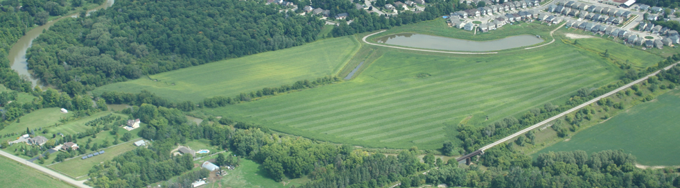air photo of lands to become Mike Schout Wetlands Park