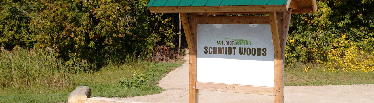 Schmidt Woods trail kiosk